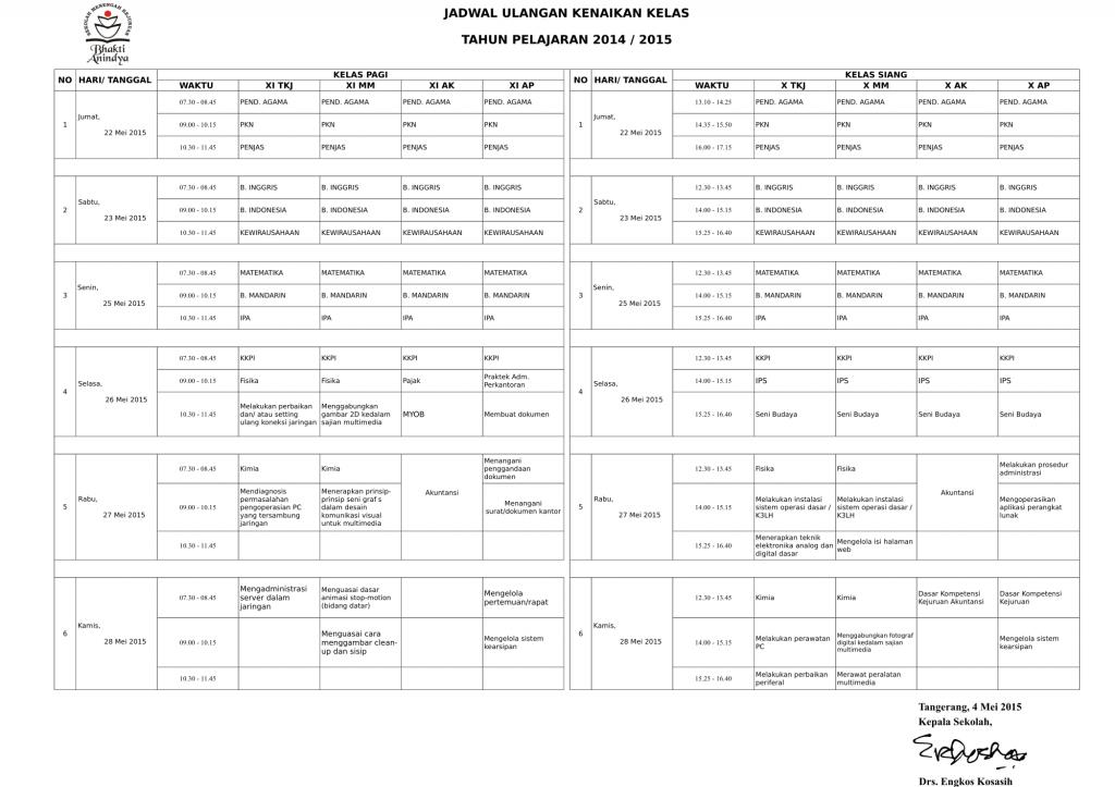 1. JADWAL Ulangan Kenaikan Kelas 2015