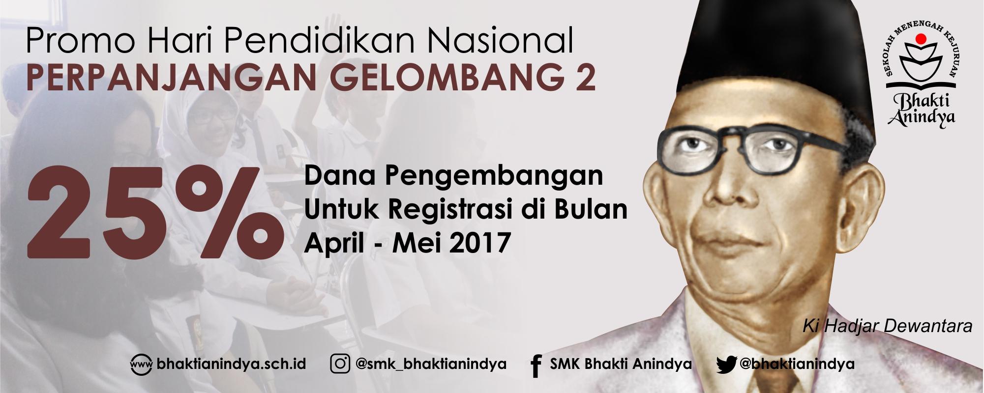 Beasiswa Hari Pendidikan Nasional 2017 Penerimaan Siswa Baru SMK Bhakti Anindya Tangerang